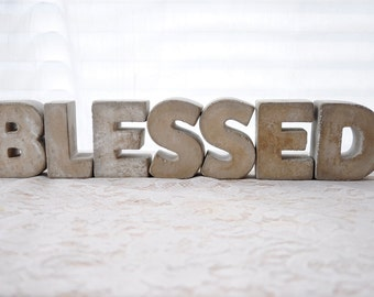 """3"""" Concrete Letters BLESSED Sign FULL WORD Free Standing Concrete Words Alphabet Letters Home Decor Letters Cement Letters Industrial Decor"""