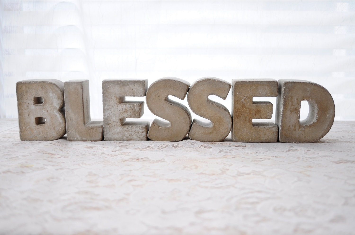 3 Concrete Letters Blessed Sign Full Word Free Standing Concrete Words Alphabet Letters Home Decor
