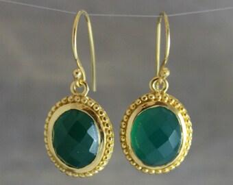 Green Onyx Earrings -Gemstone Earrings -Gold Earrings -Wedding Jewelry - Bridal Jewelry -Gifts for Her -Bridesmaid Gift- Green Earrings