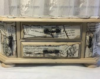 Alice in Wonderland, Wood Jewelry Chest, Vintage Jewelry Box, Jewelry Storage, Upcycled Jewelry Box, Jewelry Box Wood