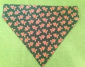 Dog bandana, xmas gingerbread, over the collar