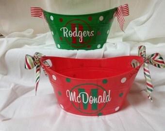 Personalized Christmas gift basket tub Bowl Bucket *QuickShip*