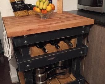 Solid Beech Kitchen Island Butchers Block with Wine Rack