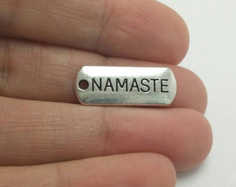 BULK 40 Namaste Word Charms, Namaste Charms, Silver Word Charms, Bulk Charms (5-1251)