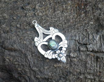 Vintage Sterling Silver Celtic Abalone Necklace Pendant Charm