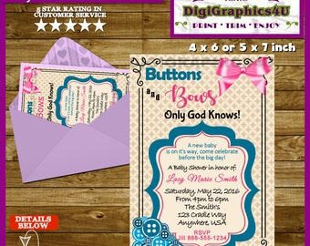 Gender Neutral Buttons and Bows Baby Shower Invitation - Printable Personalized  File