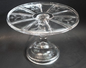 EAPG Sprig Pattern Cake Stand by Bryce Higbee Glass c1885