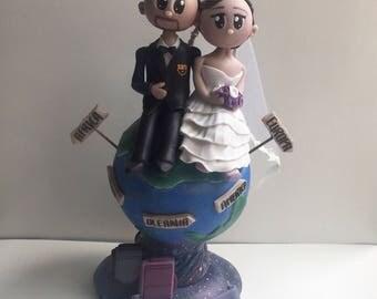 Wedding Custom Figurine, Bride & Groom on a globe (cake topper) cold porcelain, clay