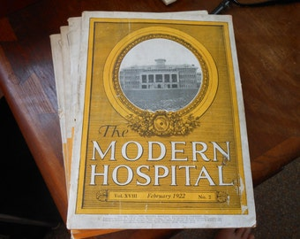 February 1922 antique MODERN HOSPITAL MAGAZINE w/Drug ads, equipment ads, photos