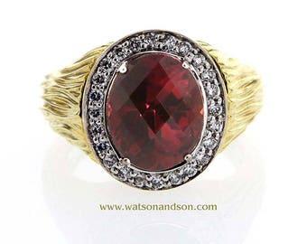 18k Rubellite and diamond ring