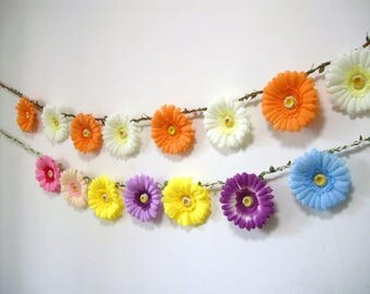 Orange Flower Garland Backdrop,Orange Wedding Garland,Orange Silk Flower Daisy Banner,Bunting,Bridal Baby Shower decor,Beige Floral Garland