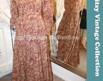 LAURA ASHLEY brown victoriana bustle dress - 1970S - Super RARE