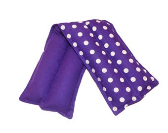 Lavender Flax Seed Purple Polka Dot Cotton and Flannel Neck Microwave Heating Pad Pillow Hot Cold Pad Pack Therapeutic  Microwavable