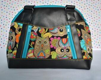 Sublime Handbag, Shoulder bag, Owl fabric with black vinyl accents