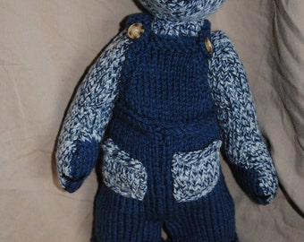 Hand Knit Teddy Bear-Blue Overalls
