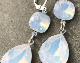 SPARKTACLE NEW white opal bridal contemporary simple Swarovski duchess estate style dangle drop statement earrings