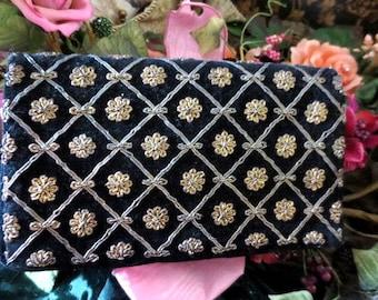 Vintage black velvet beaded purse