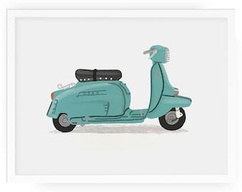 Scooter personalised illustrated print - scooter print lambretta vespa mod print personalised print kids room print nursery art