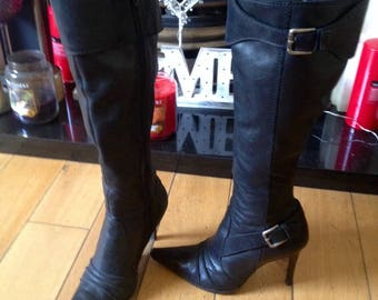 Leather Dominatrix Spike Heel Boots, Fetish Boots, Stilleto Boots