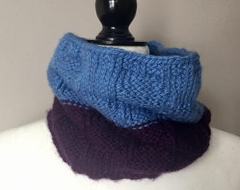 Purple & Blue Polka Dot Cowl