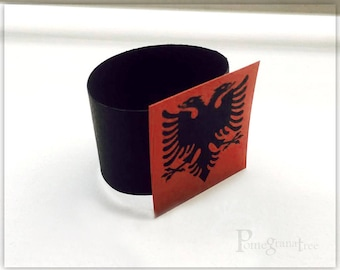 Albanian Eagle Table Decor, Paper Napkin Rings, Red Party Supply Set of 10 Dark Red With Black strap