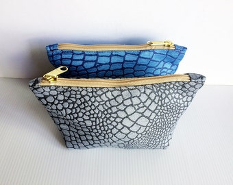 Set of 2 Zipper Pouches Alligator Crocodile Pattern Texture, Cosmetic Bag, Pouch Tutoial, Zipper Pouch,Toiletry Bag, lady accessories, gift