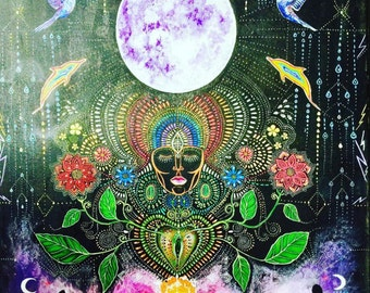Large Sized Hand Painted Wood Visionary Art Seeds and Rain Moon Blessing Wild Heart medicine