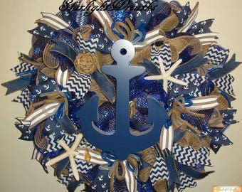 Nautical Blue Anchor Burlap and Mesh Wreath, Summer Wreath, Summer Decor, Anchor Wreath, Nautical Decor