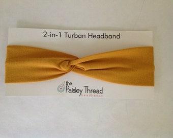 Skinny* Mustard Stretchy Cotton Turban Headband