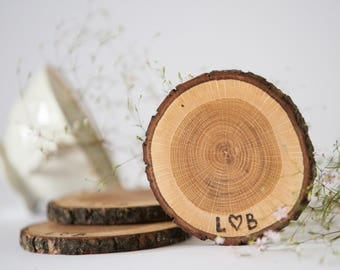 "SALE! 10 oak wood coasters 3""- 4"" , tree slices for wedding, rustic wedding decors, wedding favors, wood discs, wooden circles"