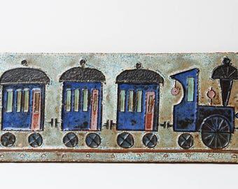 Retro Belgium 1960s stylised steam locomotive train plaque.