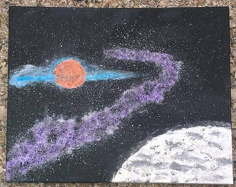 """Original Outer Space Painting """"Space Travel"""""""