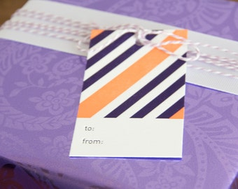 Purple and Peach Stripes Letterpress Gift Tag - Set of 6