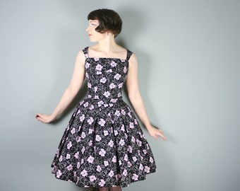 50s Sally Slade black TAFFETA dress w. flocked print and pink FLOWERS - beautiful New Look style fit with full skirt - Mid Century dress - S