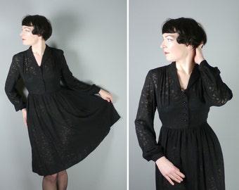 40s black semi SHEER dress - GOTHIC governess / art deco femme fatale 1940s shirtwaister - M-L / uk12-14