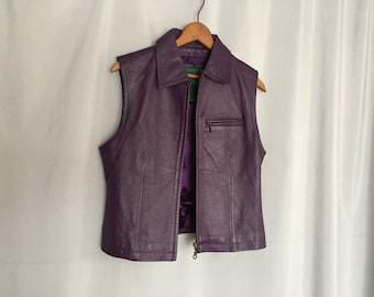 Purple Leather Vest Jacket Vintage Women's Small or Medium
