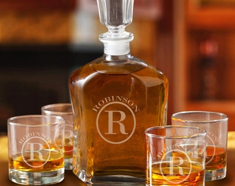 Monogrammed Whiskey Decanter and Low Ball Glass Set - Engraved Decanter and Glass Set - Gifts for Him - Husband Gifts - GC1496