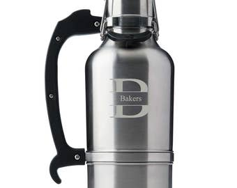 Personalized Stainless Silver DrinkTanks® 64 oz. Insulated Growler - Monogrammed DrinkTanks Beer Growler - Groomsmen Gifts - GC1557