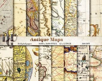 "Ancient maps digital paper: ""ANTIQUE MAPS"". 16 Vintage Maps, World Map Scrapbook Paper Pack, old maps scrapbook, world maps background # 136"