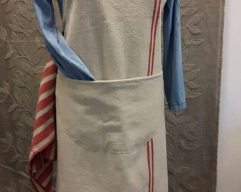 Apron grainsack; apron made of sturdy flour sack fabric