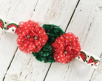 Watermelon Headband - Red Polka Dot Flower Headband for Girls - Summer Watermelon Head Band - Plaid Green Flower Headband - Toddler Headband
