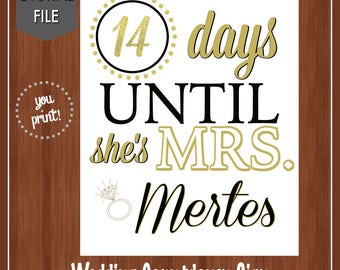 Black and Gold Wedding Countdown Sign - Bridal Shower Sign - Bridal Shower Countdown - Wedding Shower Decor - Countdown - Days Until