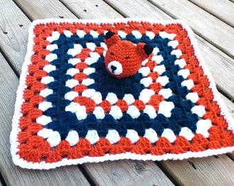 Fox Lovey Blanket - Baby fox Snuggle Blanket - Crochet Lovey Blanket - Crochet Snuggle Blanket - woodland nursery - fox nursery gift