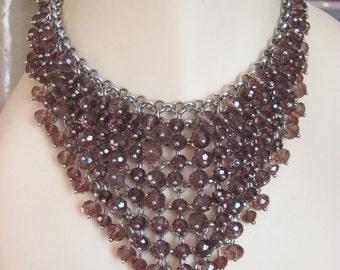Bib layered rhinestone necklace, silver tone purple/amber stones, stunning