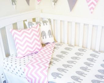 Grey and  pink chevron, elephant nursery set items