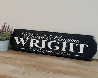 Last name established sign - Established wedding sign -  Mr&mrs wedding sign - wedding date esatblished sign - wood sign - wedding gift sign