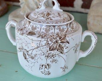 Vintage Ironstone Alfred Meakin Large Sugar Bowl with Lid, Brown Transferware, Brown Flowers, Parisian Granite Rosaline, England Chic