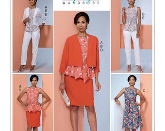 Butterick B6463 Misses' Dolman-Sleeve Jacket, Attached-Sash Top and Dress, Pencil Skirt, and Pants