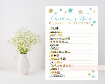 Children's Book Emoji Pictionary printable, Twinkle Star shower game, baby book downloadable, mint and gold INSTANT DOWNLOAD 006
