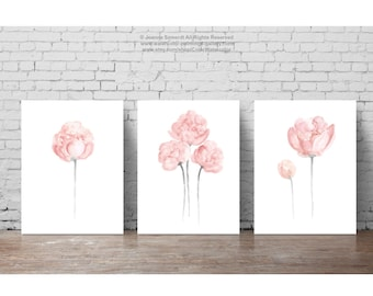 Shabby Chic Home Decor Minimalist Peony Flower, Pastel Grey and Pink Peonies Nursery Girls Room Flowers Watercolor Painting Floral Art Print